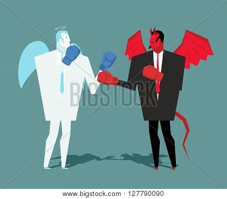 Battle Heaven And Hell. Angel And Demon Combat. Satan And Angel Are Boxing. War Between Devil And An