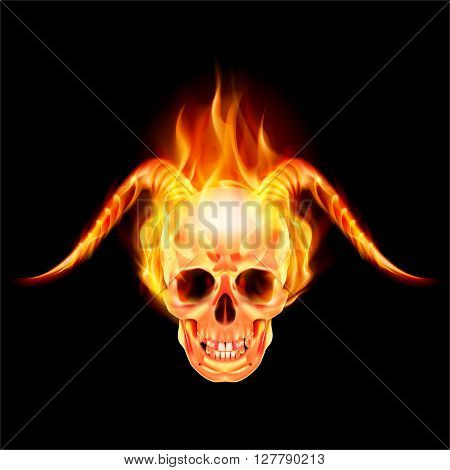 Scary skull on fire with demon flaming horns