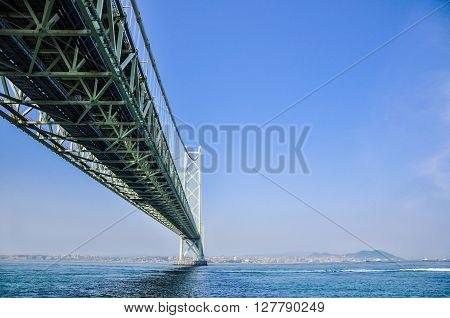 Akashi Kaikyo Bridge in Kobe connecting mainland and Awaji Island