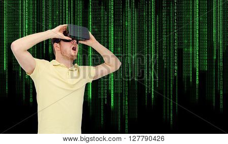 3d technology, virtual reality, entertainment and people concept - happy young man with virtual reality headset or 3d glasses playing game over binary system code background