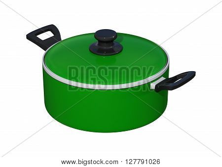 3D rendering of a green dutch oven isolated on white background