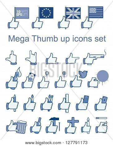 Set of likes. Hand drawn vector stock illustration.