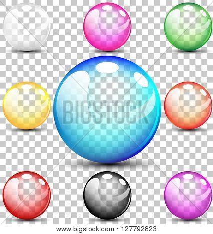 Colorful translucent bubbles set for summer  concept