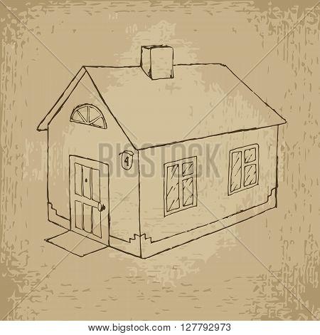 House vector stock hand drawn grunge illustration
