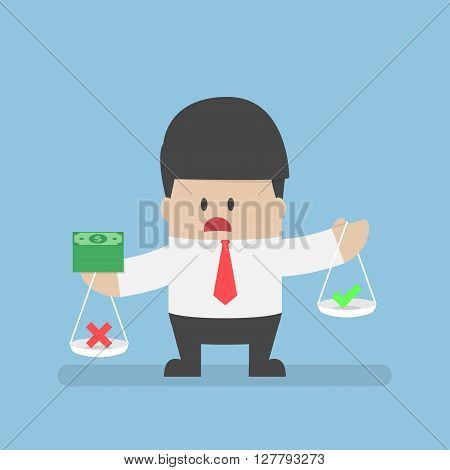 Businessman Holding Scale With Money On His Hands