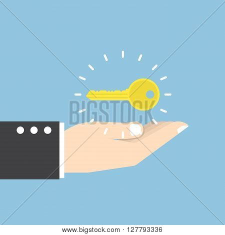 Businessman With Golden Key Over His Hand