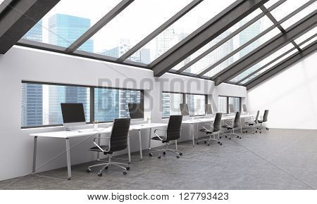 Sideview of concrete coworking area with Singapore view. 3D Rendering