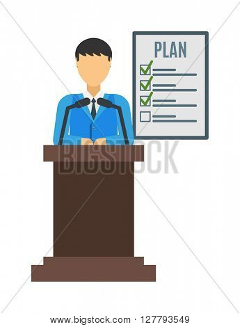Conference speaker vector isolated