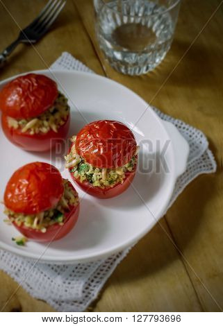 Baked Tomatoes Stuffed With Wheat Bulgur, Herbs and Pine Nuts, Top View