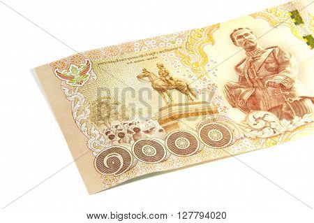 Closed up Thai banknote thousand baht isolated on white background
