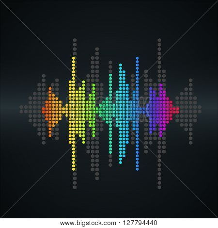 Vector retro sound wave. Halftone square vector elements. Music polygons waveform background. You can use in club radio pub party concerts recitals or the audio technology advertising background.