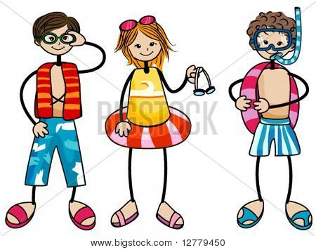 Swimming Kids - Vector
