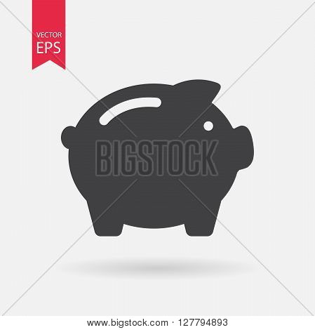 Piggy Bank icon vector. Piggy Bank mark icon. Flat logo design.  Isolated on white background. Vector illustration