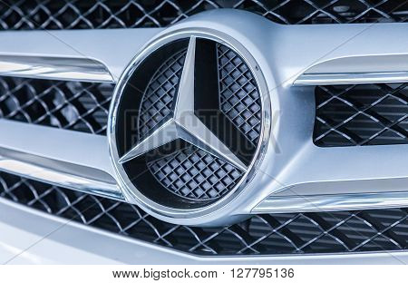 SAMARA RUSSIA - MAY 30 2015: Grille of a Mercedes-Benz car with the famous star