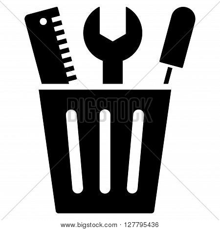 Setup Bucket vector icon. Style is flat icon symbol, black color, white background.