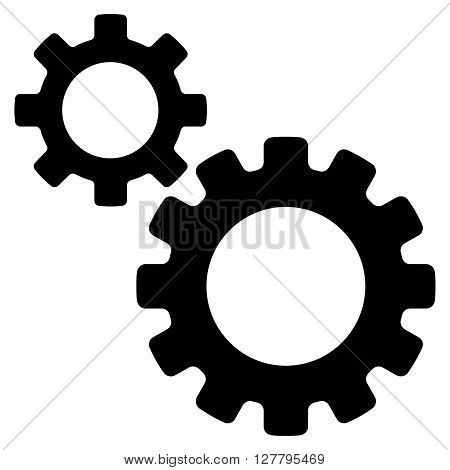 Transmission Gears vector icon. Style is flat icon symbol, black color, white background.