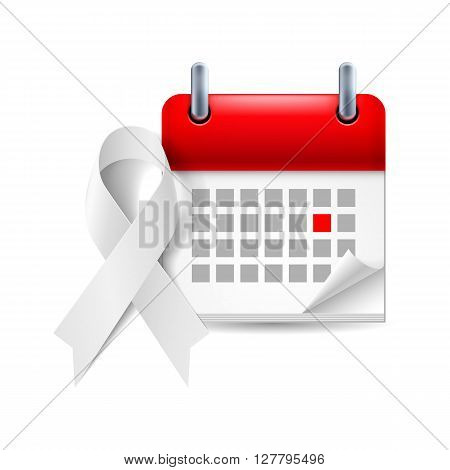 White awareness ribbon and calendar with marked day. Lung cancer violence against women and safe motherhood symbol