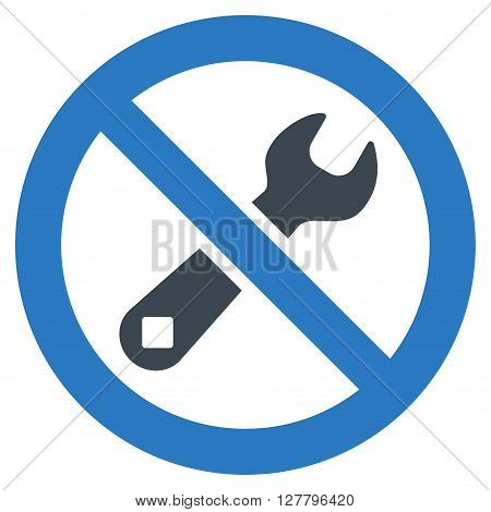 Forbidden Repair vector icon. Style is bicolor flat icon symbol, smooth blue colors, white background.