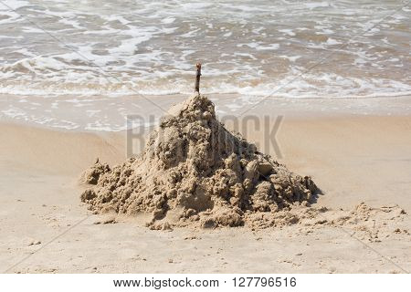 high hill from sea sand on the seashore
