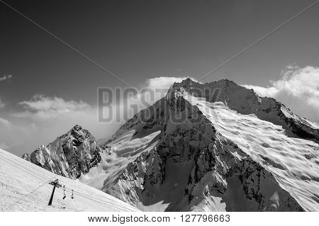 Black And White View On Ski Slope