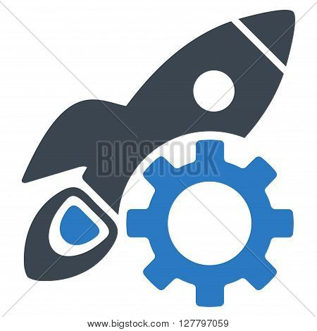 Rocket Development vector icon. Style is bicolor flat icon symbol, smooth blue colors, white background.