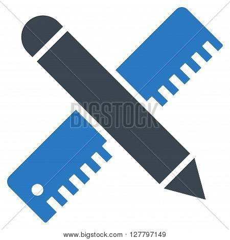 Ruler and Pen Design Setup vector icon. Style is bicolor flat icon symbol, smooth blue colors, white background.