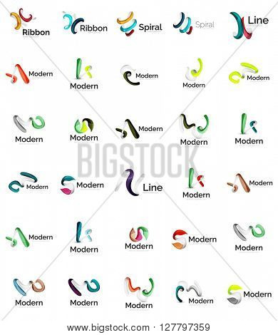Set of abstract ribbon logo icons - multicolored shiny wave, swirl, spiral designs. Curve stripe shape. Universal various branding logotype company emblem ideas and branding business identity