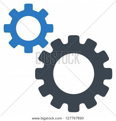 Transmission Gears vector icon. Style is bicolor flat icon symbol, smooth blue colors, white background.