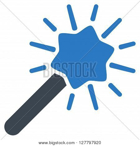 Wizard Wand vector icon. Style is bicolor flat icon symbol, smooth blue colors, white background.