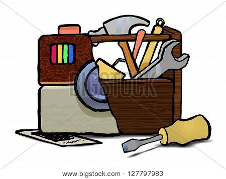 Tools vector icon. Hand drawn stock illustration