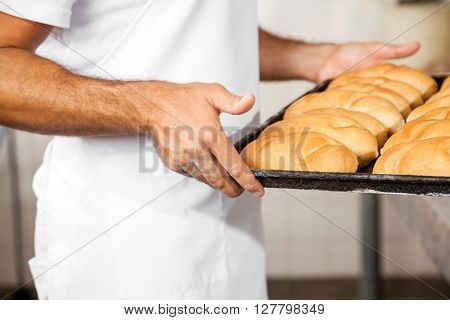 Midsection Of Male Baker Carrying Breads In Baking Tray