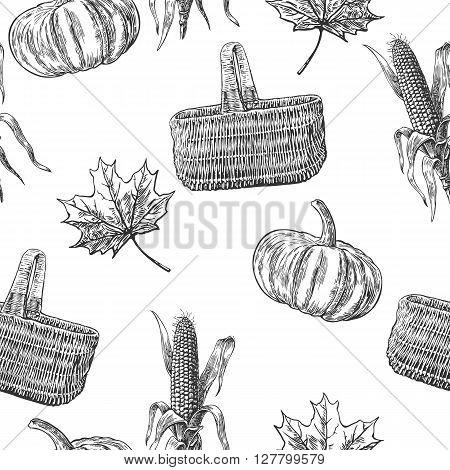 Seamless pattern with with leaves pumpkin corn cob leaf. Vintage vector engraving illustration. Black white color.