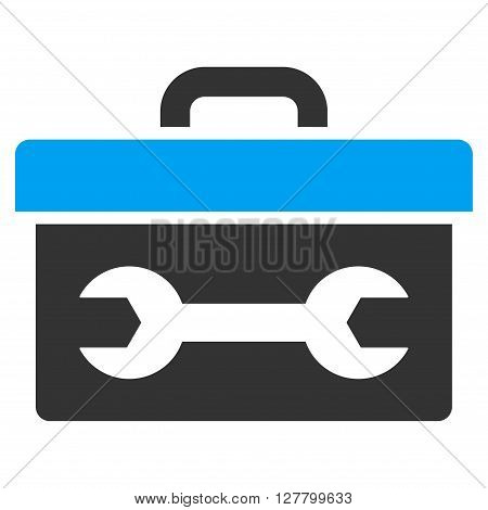 Toolbox vector icon. Style is bicolor flat icon symbol, blue and gray colors, white background.