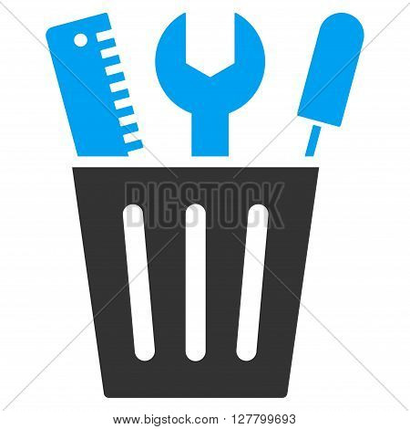 Adjustment Bucket vector icon. Style is bicolor flat icon symbol, blue and gray colors, white background.