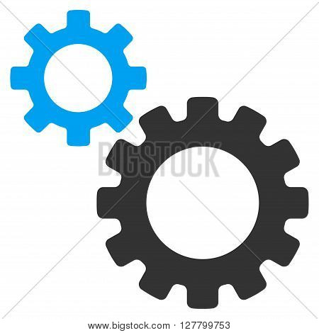 Transmission Gears vector icon. Style is bicolor flat icon symbol, blue and gray colors, white background.