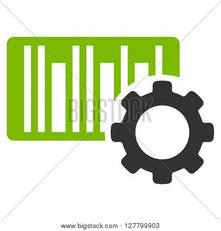 Bar Code Options vector icon. Style is bicolor flat icon symbol, eco green and gray colors, white background.