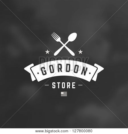 Restaurant Shop Design Element in Vintage Style for Logotype, Label, Badge and other design. Fork and spoon Silhouettes retro vector illustration.