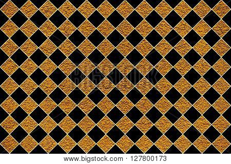Golden Revetment Wall Putty Macro Texture Background Black Rhombus Styled