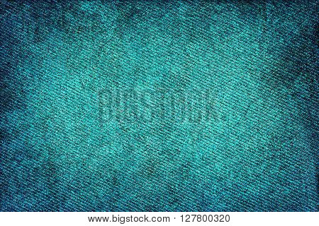 Turquoise Fabric Woven Texture High Contrasted With Vignetting Effect Macro Background Scratched Sty