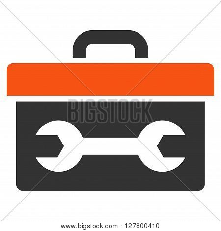 Toolbox vector icon. Style is bicolor flat icon symbol, orange and gray colors, white background.