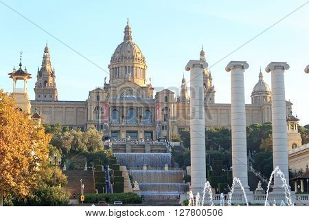 Barcelona, Spain - November 12, 2015: Palau Nacional (National art museum of Catalonia), Four columns and Magic fountain. It is the national museum of Catalan visual art.