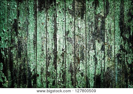 Texture Of Old Turquoise Painted Wooden Fence Scratched Styled
