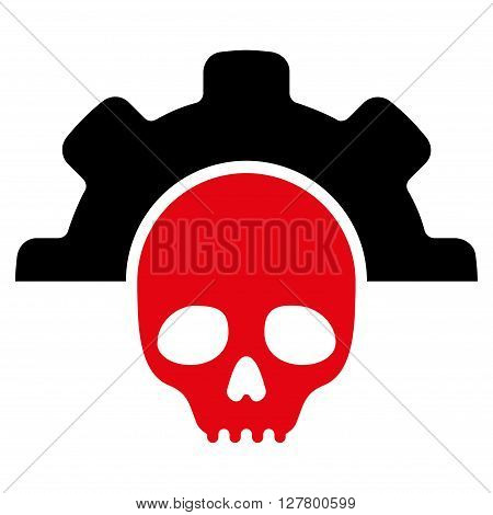 Dead Tools vector icon. Style is bicolor flat icon symbol, intensive red and black colors, white background.