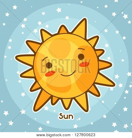 Kawaii space card. Doodle with pretty facial expression. Illustration of cartoon sun in starry sky.