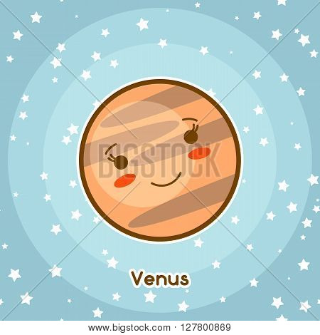 Kawaii space card. Doodle with pretty facial expression. Illustration of cartoon venus in starry sky.