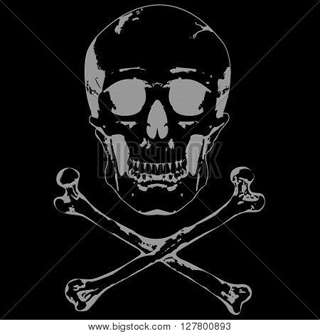Skull and crossbones. Illustration on black background
