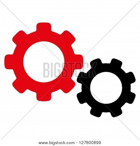 Config vector icon. Style is bicolor flat icon symbol, intensive red and black colors, white background.