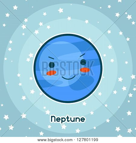 Kawaii space card. Doodle with pretty facial expression. Illustration of cartoon neptune in starry sky.