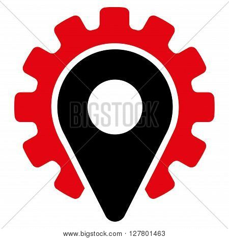 Service Location vector icon. Style is bicolor flat icon symbol, intensive red and black colors, white background.