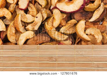 Dry apple and bamboo mat with place for your text